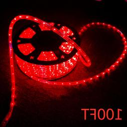 Red 100FT LED Rope Lights 110V Home Party Wedding Decor In/O
