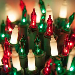 100 Red Green White Christmas Mini Lights Green Wire Indoor
