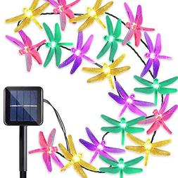 Outdoor Solar Powered 30 LED Dragonfly String Lights Garden