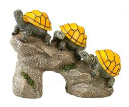Solar Powered Turtles on Log Outdoor Accent Lighting LED Gar