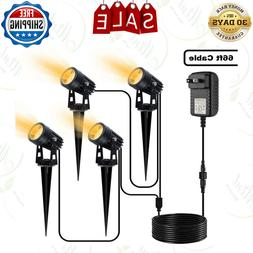 4 in 1 Outdoor Landscape Lights with Transformer, 66 ft Cabl