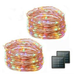 Solar Twinkle Copper Wire Fairy String Night Lights Outdoor