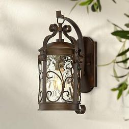Traditional Outdoor Wall Light Fixture Oiled Bronze Scroll 1