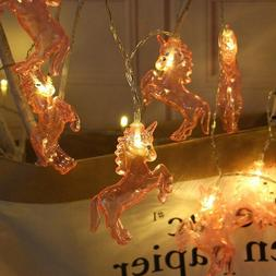 US 1.5M 10LED Pink Clear Unicorn Light String Fairy Lights H