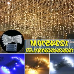 US LED Window Curtain String Lights Outdoor Icicle Fairy Lig