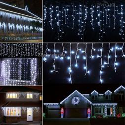 US White 10~100FT 96-960 LED Icicle Curtain Outdoor Christma