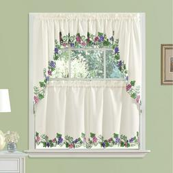 Vineyard Grapes  3 Pc Embroidered Curtains  Home Decor.