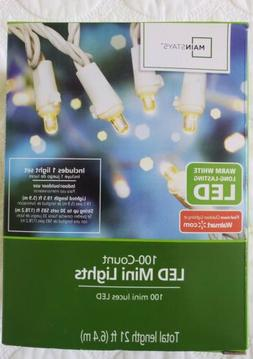 MainStays Warm White 100 Count LED Mini String Lights Indoor